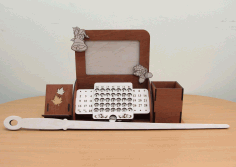 Laser Cut Perpetual Calendar Desk Organizer With Photo Frame Phone Holder Free CDR Vectors Art
