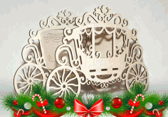 Laser Cut Carriage Flower Stand Candy Box Basket 4mm Free CDR Vectors Art