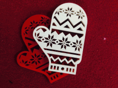 Laser Cut Christmas Mitten Christmas Toys Figurines Free CDR Vectors Art