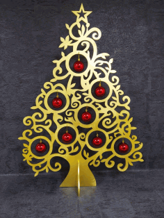 Laser Cut Christmas Ornament Tree Unique Christmas Decoration Free CDR Vectors Art