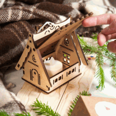 Laser Cut Christmas Village House Free CDR Vectors Art