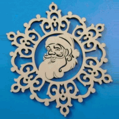 Laser Cut Santa Claus Christmas Ornament Free CDR Vectors Art