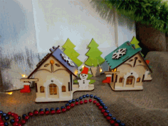 Wooden House Christmas Village Free CDR Vectors Art