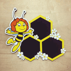 Laser Cut Bee Photo Frame Honeycomb Picture Frames Hexagon Frames Free CDR Vectors Art