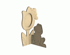Laser Cut Photo Frame With Flower And Frog Free CDR Vectors Art