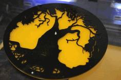 Laser Cut Acrylic Tree Design Wall Clock Free CDR Vectors Art
