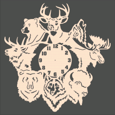 Laser Cut Forest Animals Wall Clock Free CDR Vectors Art