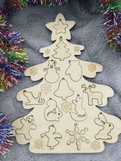 Laser Cut Christmas Tree Puzzle Free CDR Vectors Art