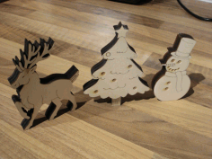 Laser Cut Snowman Christmas Ornaments Free CDR Vectors Art
