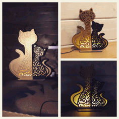 Cat And Kitten Night Light Lamp Home Decor Free CDR Vectors Art