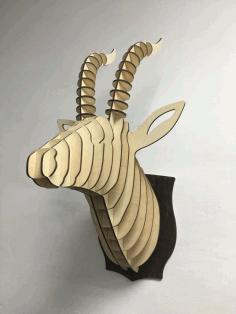 Laser Cut Antelope Head Wall Decor Free CDR Vectors Art
