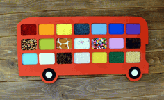 Laser Cut Bus Tactile Game Touch And Match Game Free CDR Vectors Art