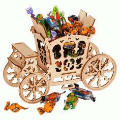 Laser Cut Carriage Candy Cart Sweet Display Stand 3mm Free CDR Vectors Art