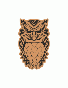 Angry Owl Sitting Laser Cut Engraving Template Free CDR Vectors Art