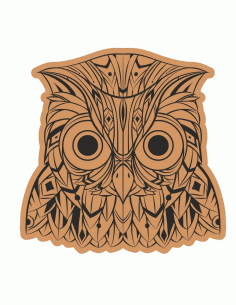 Decorative Owl Head Laser Cut Engraving Template Free CDR Vectors Art