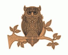 Decorative Owl Sitting On Branch Laser Cut Engraving Template Free CDR Vectors Art