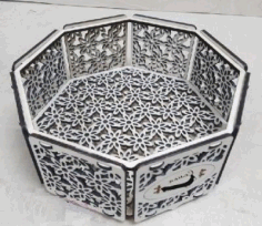 Decorative Octagon Candy Box Laser Cutting Template Free CDR Vectors Art