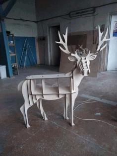Wooden Deer Table Storage Book Shelf Furniture Laser Cut Template Free CDR Vectors Art