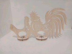 Wooden Hen Rooster Easter Egg Holder Laser Cutting Template Free CDR Vectors Art