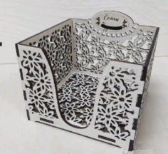 Napkin Holder Square Box Laser Cutting Template Free CDR Vectors Art