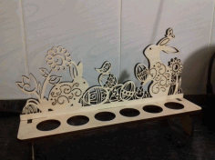 Easter Bunnies Egg Holder Laser Cut Template Free CDR Vectors Art