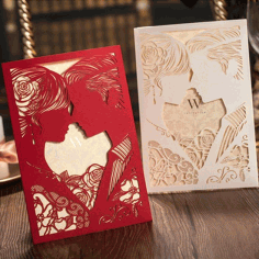 Invitation Card Couple Design Laser Cutting Template Free CDR Vectors Art
