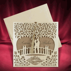 Invitation Card Couple Standing On Bridge Design Laser Cutting Template Free CDR Vectors Art