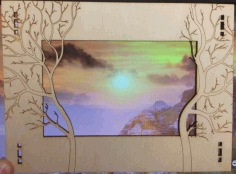 Forest Photo Frame Laser Cutting Template Free DXF File
