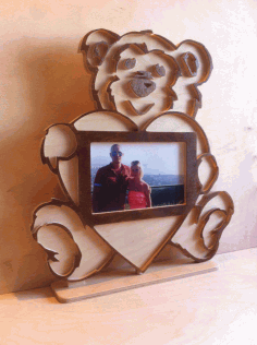 Laser Cut Teddy Bear Photo Frame Free DXF File