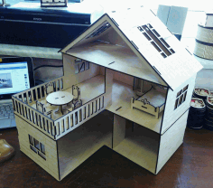 Laser Cut Wooden Dollhouse For Kids Free DXF File