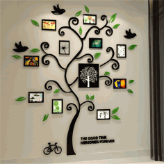 Tree Photo Frame Laser Cut Free DXF File