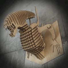 Alien 3d Wall Decor Laser Cutting Template Free CDR Vectors Art