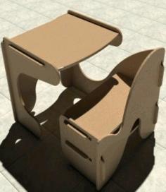 Kids Desk With Chair Study Desk Laser Cut Cnc Router Plans Free CDR Vectors Art