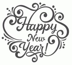 Laser Cut Happy New Year Lettering Free CDR Vectors Art