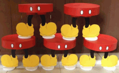 Laser Cut Mickey Mouse Cupcake Stand Free CDR Vectors Art