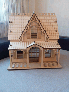 Laser Cut Plywood Model House Free CDR Vectors Art