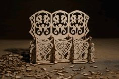 Laser Cut Carved Wood Desk Organizer Free CDR Vectors Art