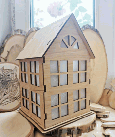 Laser Cut Small Wooden House 4mm Free CDR Vectors Art