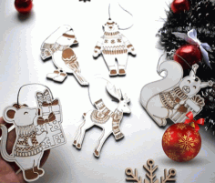 Laser Cut Animal Christmas Ornaments Free CDR Vectors Art