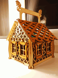 Laser Cut Christmas Candy House Free CDR Vectors Art