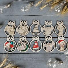 Laser Cut New Year Decor Wooden Christmas Ornaments Free CDR Vectors Art