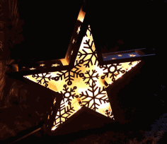 Laser Cut Star Lamp Snowflake Night Light New Year Lamp Free CDR Vectors Art