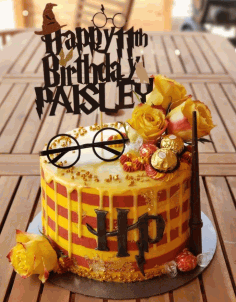 Laser Cut Harry Potter Cake Topper Personalized Birthday Topper Free CDR Vectors Art