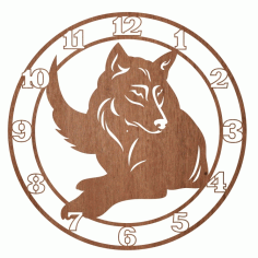 Laser Cut Engraved Wolf Wall Clock Free CDR Vectors Art