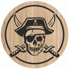 Laser Engraving Art Pirate Skull For Cutting Board Free CDR Vectors Art