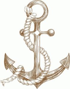 Laser Engraving Nautical Anchor Decor Free CDR Vectors Art