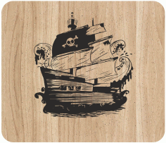 Laser Engraving Pirate Ship Art On Cutting Board Free CDR Vectors Art