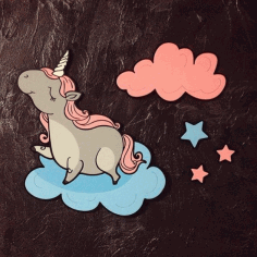 Unicorn Clouds Star Laser Cut Engraving Template Free CDR Vectors Art