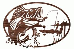 Fisherman Mural Wall Decor Laser Cutting Template Free CDR Vectors Art