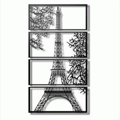Laser Cut Eiffel Tower View Multi Panel Canvas Wall Art Free CDR Vectors Art